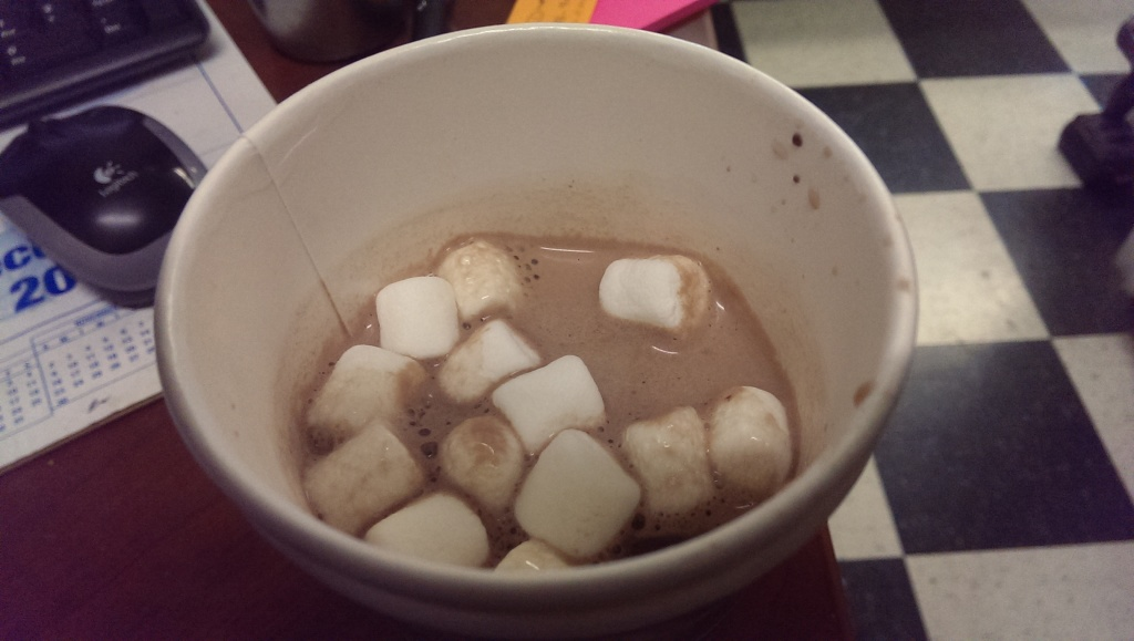 Bought some more hot chocolate. Bought some marshmellows to go with it too. Too bad that within just less than a minute of looking away, they all melted into the hot chocolate. :<